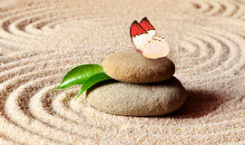 Butterfly on a zen stone with circle in the sand. Stock Image