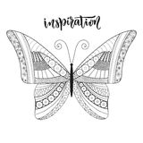 Butterfly zentangle design with lettering.  Royalty Free Stock Photo