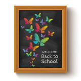 Butterflys on chalkboard Royalty Free Stock Image