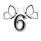 Butterflys com número seis Imagem de Stock Royalty Free