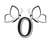 Butterflys com número zero Imagem de Stock