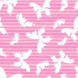Butterflys on the pink stripes background. Vector Seamless Pattern royalty free stock photography