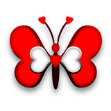 Butterfy of Love. Red decorative butterfly with heart wings Royalty Free Stock Photography