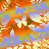 Butterly and leaves grunge. Bright grunge background with leaves silhouette and metallic toned flying butterflies with yellow, green, brown and orange autumn Royalty Free Stock Photography