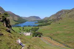 Buttermere and Crummock Water from Fleetwith Pike Stock Photo