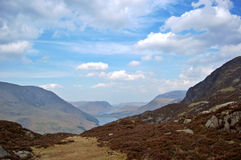 Buttermere from Haystacks. Buttermere and valley from the path leading to Haystacks, a popular mountain in the Lake District Royalty Free Stock Photos