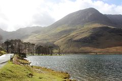 Buttermere, Haystacks, High Crag, Lake District. Looking South across the South Eastern end of Buttermere in the English Lake District, Cumbria, England to stock images