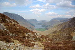 Buttermere and valley from Haystacks. Buttermere and valley from the path leading to Haystacks, a popular mountain in the Lake District Stock Photos
