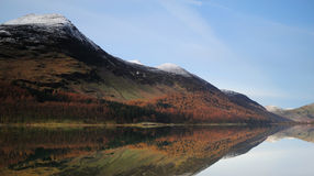 Buttermere Winter scene. Wth the mountains reflecting on the lake royalty free stock image