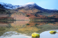 Buttermere Winter scene. Wth the mountains reflecting on the lake royalty free stock photo