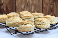 Buttermilk Biscuits on a cooling rack. Fresh baked homemade buttermilk biscuits on a cooking rack.  Close up, with selective focus on front biscuit.  Copy space Stock Photos