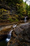 Buttermilk Falls State Park - Autumn Waterfall - Ithaca, New York royalty free stock photos