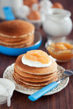 Buttermilk oat bran pancakes Royalty Free Stock Photos