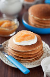 Buttermilk oat bran pancakes Stock Images