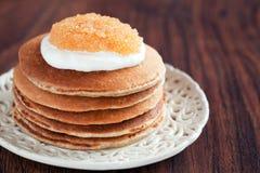 Buttermilk oat bran pancakes Stock Image