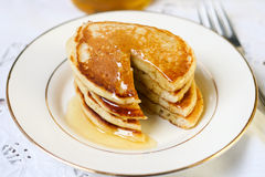 Buttermilk rye pancakes stock photo