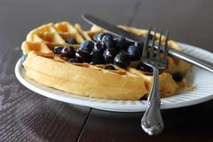 Buttermilk Waffle Topped With Blueberries. A casual photo of a delicious homemade waffle. I took this one awhile ago while trying out a new recipe. Loved it royalty free stock photo