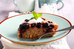 Buttermilk wholewheat cake with berries with cream Stock Images