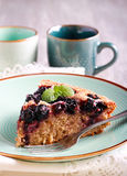 Buttermilk wholewheat cake with berries sliced Stock Photos