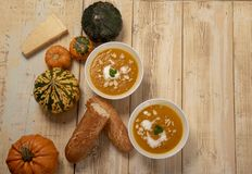 Butternut- och pumpasoppa med ingredienser royaltyfria foton