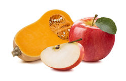 Butternut pumpkin apple 1 isolated on white background. As package design element Stock Image