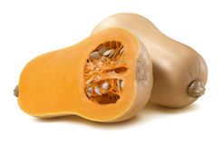 Butternut Pumpkin Half Whole Horizontal 3 Isolated On White