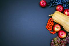 Butternut squash, apples, grapes and rowan berries on a dark background. Stock Photo