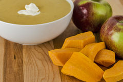 Butternut squash and apples used to make soup Royalty Free Stock Images