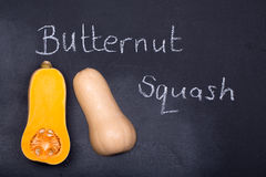 Butternut squash on chalkboard Royalty Free Stock Images