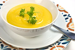 Butternut squash and cream of corn soup Stock Photo