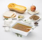 Butternut squash Cucurbita moschata with various ingredients Stock Photo