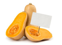 Butternut squash with price tag Stock Photo