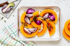Squash Slices with Red Onions to Roast. Butternut Squash Slices with Red Onions and Thyme Prepared for Roasting royalty free stock image