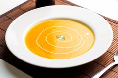Butternut squash soup plate. Royalty Free Stock Photography