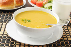 Butternut squash soup with salad Royalty Free Stock Photo