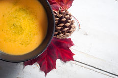 Butternut squash and sweet potato soup royalty free stock photos