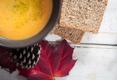 Butternut and sweet potato soup royalty free stock image