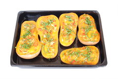 Butternut dish stuffed with chives Royalty Free Stock Images