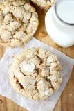 Butterscotch Crinkle Cookies. With milk royalty free stock images