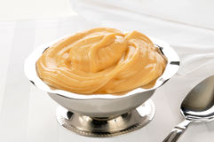 Butterscotch pudding. A bowl of butterscotch pudding on a high key background royalty free stock photos