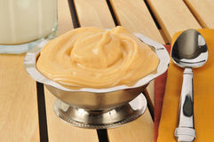 Butterscotch pudding with milk Royalty Free Stock Photos