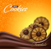 Buttery cookies with chocolate on floral pattern backdrop. Label, packaging or advertising poster design Stock Photography