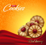 Buttery cookies with red berry jam on floral pattern backdrop. Label, packaging or advertising poster design Stock Photos
