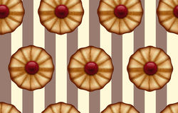 Buttery cookies with red jam on striped brown and beige, like a cocoa and vanilla color seamless background Stock Image
