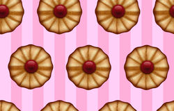 Buttery cookies with red jam on striped sweet pink color seamless background Royalty Free Stock Photos
