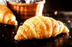 Buttery and Flaky Delicious Croissant on the Table Stock Photos