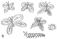 Butteryflies, mites, et d'autres insectes tirés par la main  Image libre de droits