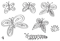 Butterflies, moths, and other insects hand drawn  Royalty Free Stock Image