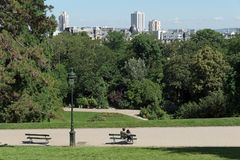 Buttes Chaumont park stock photography