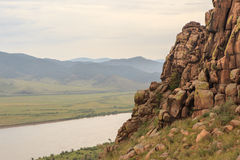 Buttes in a river Selenga valley. Stock Photo